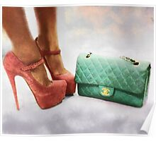 Vintage Chic Pink Stiletto Heels and Handbag Poster