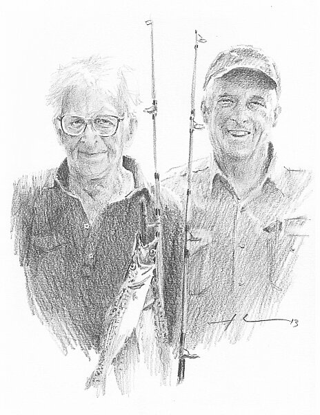 Memories of a dad pencil portrait by Mike Theuer