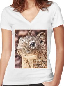 Wild nature - squirrel Women's Fitted V-Neck T-Shirt