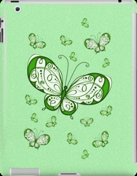 Green Butterflies .. iPad case by LoneAngel