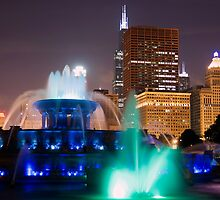 Buckingham Fountain at Night by John Gaffen