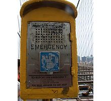 Emergency Call Point, Brooklyn Bridge Photographic Print