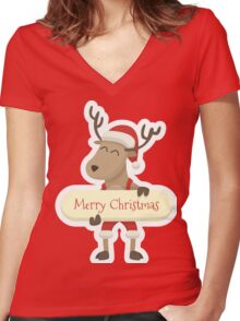 Christmas & New Year Women's Fitted V-Neck T-Shirt