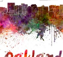 Oakland skyline in watercolor Sticker