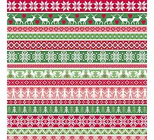 Multi Color Nordic Christmas Sweater Pattern Photographic Print