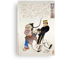 Humorous picture showing a soldier extracting teeth from a Chinese man 001 Canvas Print