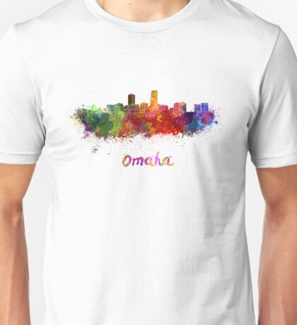 Omaha skyline in watercolor Unisex T-Shirt