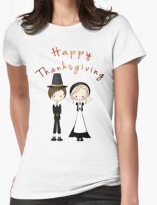 Cute Cartoon Thanksgiving Pilgrims Womens Fitted T-Shirt