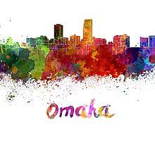 Omaha skyline in watercolor by paulrommer