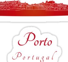 Porto skyline in red Sticker
