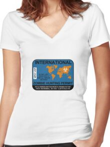 International Zombie Hunting Permit Women's Fitted V-Neck T-Shirt
