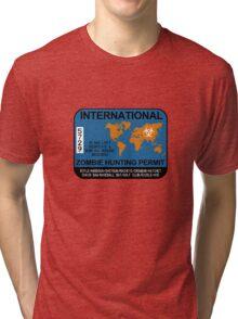 International Zombie Hunting Permit Tri-blend T-Shirt