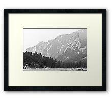 Flatiron in Black and White Boulder Colorado Framed Print