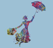 Mary Poppins Silhouette Watercolor Kids Tee