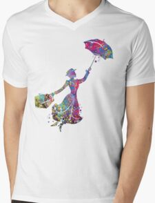Mary Poppins Silhouette Watercolor Mens V-Neck T-Shirt