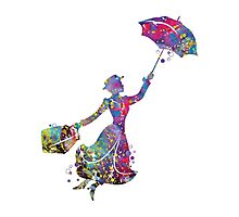 Mary Poppins Silhouette Watercolor Photographic Print