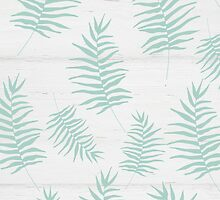 White wood and mint leaves pattern by dairinne
