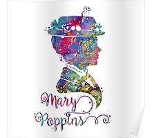 Mary Poppins Portrait Silhouette Watercolor  Poster