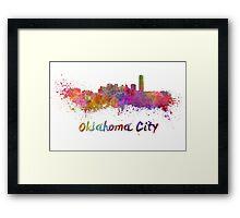 Oklahoma City skyline in watercolor Framed Print