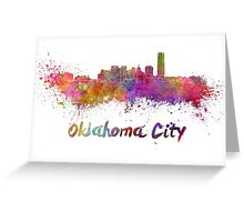 Oklahoma City skyline in watercolor Greeting Card