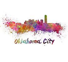 Oklahoma City skyline in watercolor Photographic Print