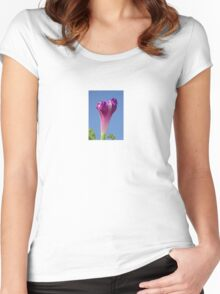 Deep Magenta Morning Glory Flower Bud Against Sky Women's Fitted Scoop T-Shirt
