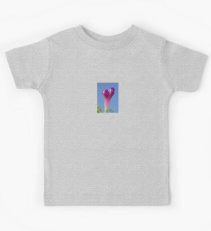 Deep Magenta Morning Glory Flower Bud Against Sky Kids Tee
