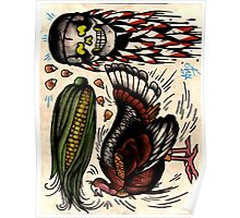 turkey and skull with corn, tattoo flash print, thanksgiving Poster