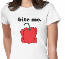 bite me. (red bell pepper) Womens Fitted T-Shirt