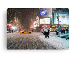 Times Square in the Snow - Winter in NYC Canvas Print