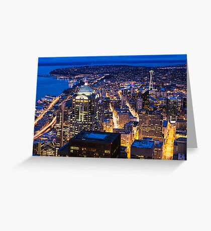 Twilight over Downtown and Northwest Seattle Greeting Card