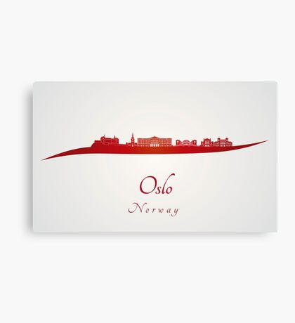 Oslo skyline in red Canvas Print