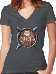 Spiked Shield with Grog and Skull Logo AAARG! Women's Fitted V-Neck T-Shirt