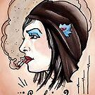 smoking tattoo aviator girl by resonanteye