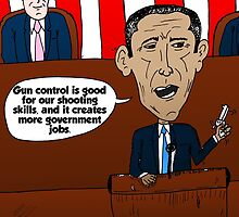 Barack Obama caricature on guns and government jobs by Binary-Options