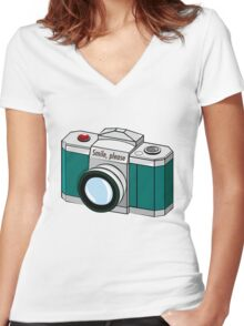 Smile, please! Women's Fitted V-Neck T-Shirt