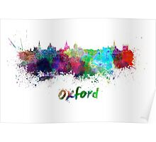 Oxford skyline in watercolor Poster