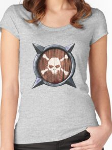 Spiked Shield Skull Crossbones Logo AAARG! Women's Fitted Scoop T-Shirt