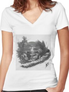 Sepia Caribbean Magic Women's Fitted V-Neck T-Shirt