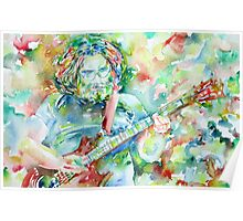 JERRY GARCIA PLAYING the GUITAR- watercolor portrait.2 Poster