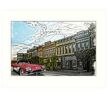Super Cool Sixty Corvette Touring Town Art Print