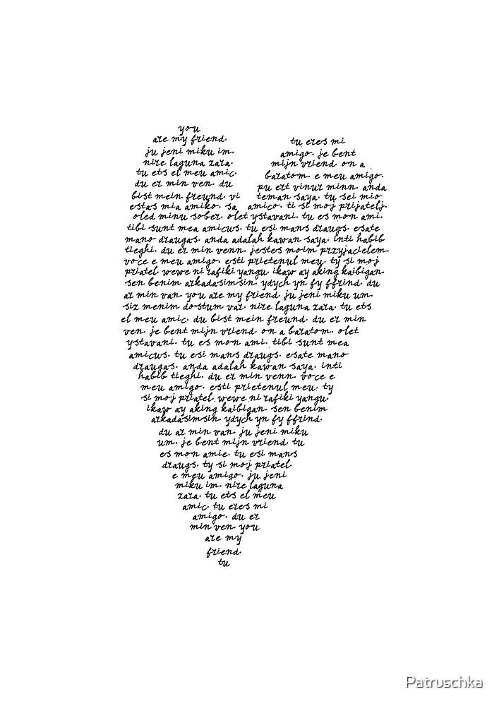 Friendship heart different languages by Patruschka
