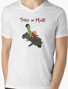 Tony and Hulk Mens V-Neck T-Shirt