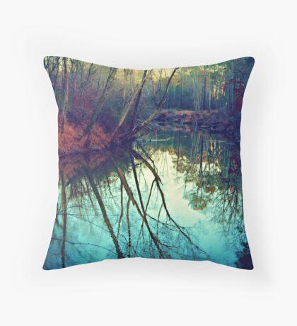 The Darkened Stream Throw Pillow