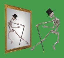 Funny Dancing Skeleton In Mirror Baby Tee