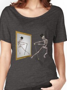 Funny Dancing Skeleton In Mirror Women's Relaxed Fit T-Shirt