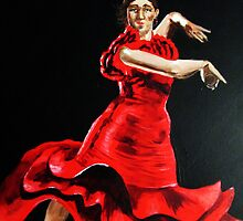 Lady in Red is dancing Flamenco by Anne Guimond