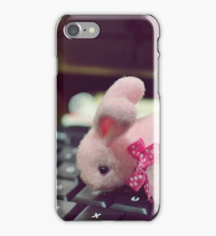 Bunny Collection #5 - a bunny on a keyboard iPhone Case/Skin