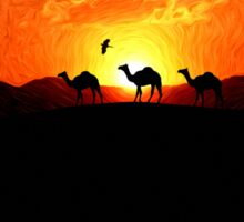 Desert Sunset - Silhouette Camels Sticker