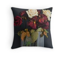 Last Year's Valentine Roses Throw Pillow
